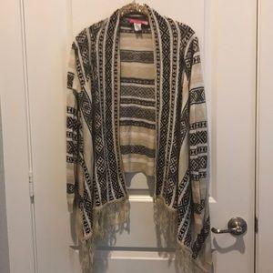 Sweaters - Aztec Fringe Open Cardigan